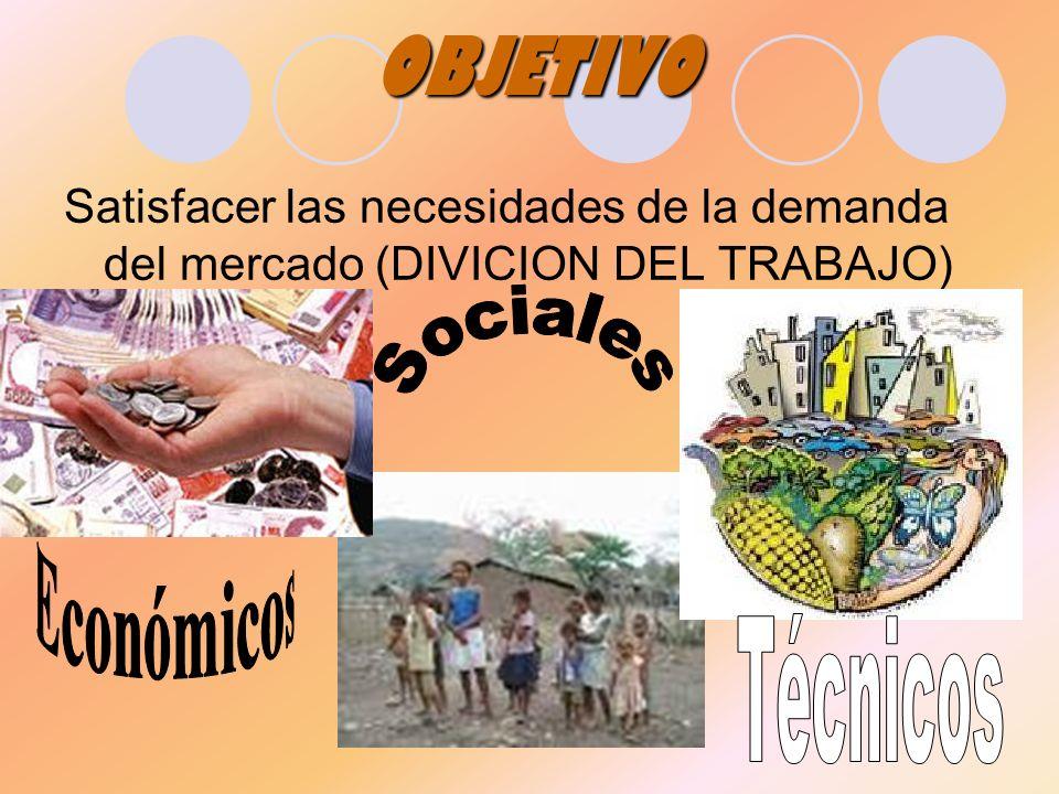 OBJETIVO Satisfacer las necesidades de la demanda del mercado (DIVICION DEL TRABAJO)