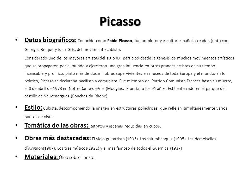 Picasso Datos biográficos: Conocido como Pablo Picasso, fue un pintor y escultor español, creador, junto con Georges Braque y Juan Gris, del movimient