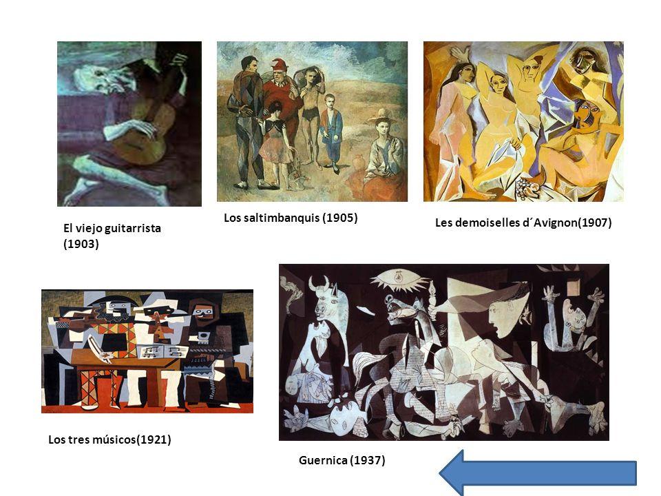 El viejo guitarrista (1903) Los saltimbanquis (1905) Les demoiselles d´Avignon(1907) Los tres músicos(1921) Guernica (1937)