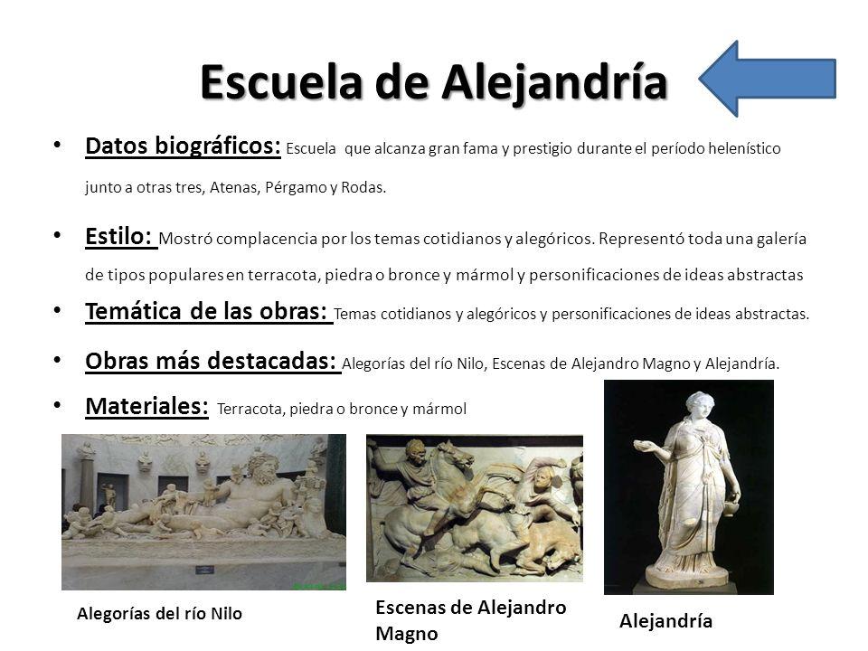 Escuela de Alejandría Datos biográficos: Escuela que alcanza gran fama y prestigio durante el período helenístico junto a otras tres, Atenas, Pérgamo