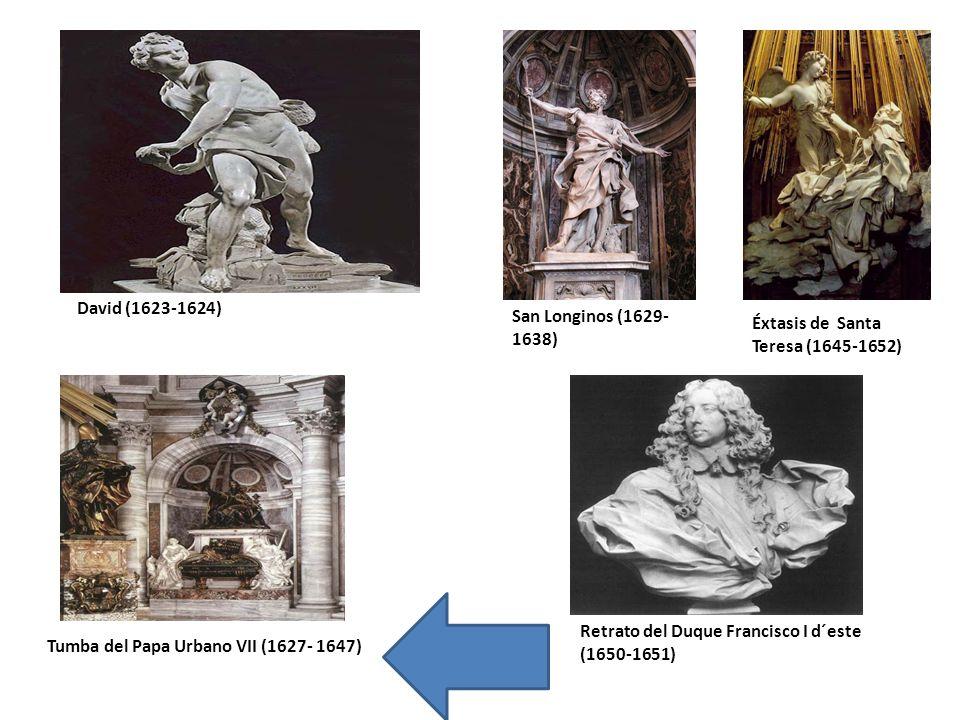 David (1623-1624) San Longinos (1629- 1638) Éxtasis de Santa Teresa (1645-1652) Tumba del Papa Urbano VII (1627- 1647) Retrato del Duque Francisco I d