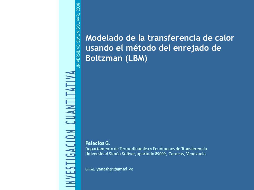 Modelado de la transferencia de calor usando el método del enrejado de Boltzman (LBM) UNIVERSIDAD SIMON BOLIVAR, 2008 Palacios G. Departamento de Term