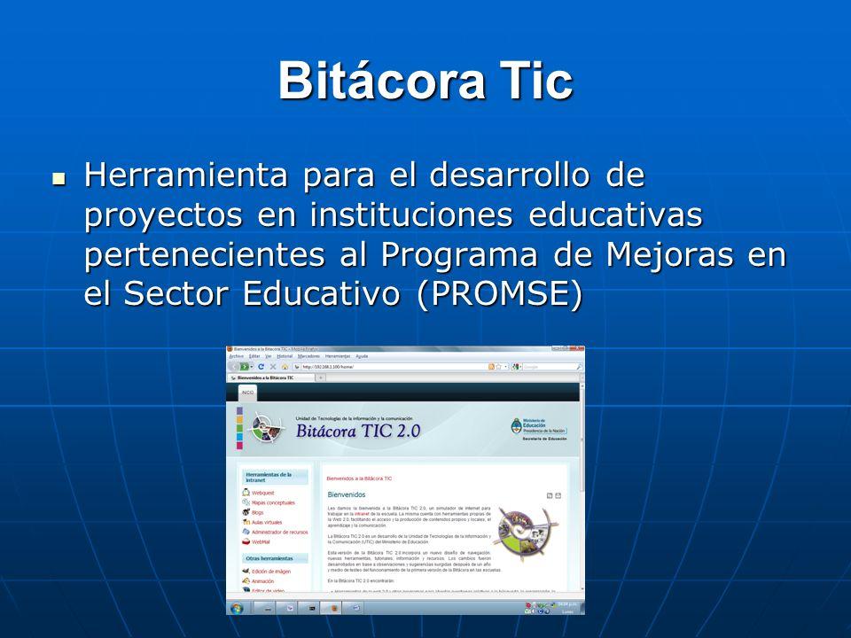 Bitácora Tic Herramienta para el desarrollo de proyectos en instituciones educativas pertenecientes al Programa de Mejoras en el Sector Educativo (PRO