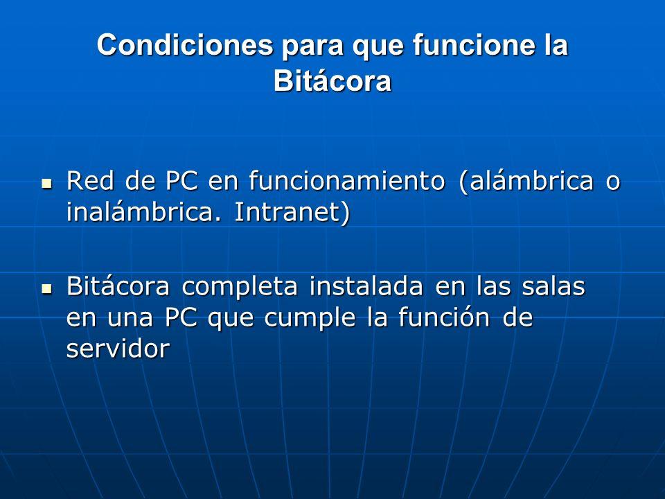 Condiciones para que funcione la Bitácora Red de PC en funcionamiento (alámbrica o inalámbrica. Intranet) Red de PC en funcionamiento (alámbrica o ina