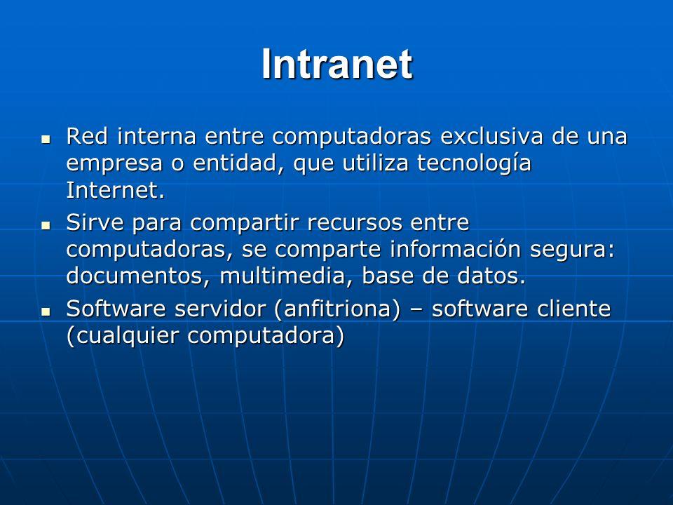 Intranet Red interna entre computadoras exclusiva de una empresa o entidad, que utiliza tecnología Internet. Red interna entre computadoras exclusiva