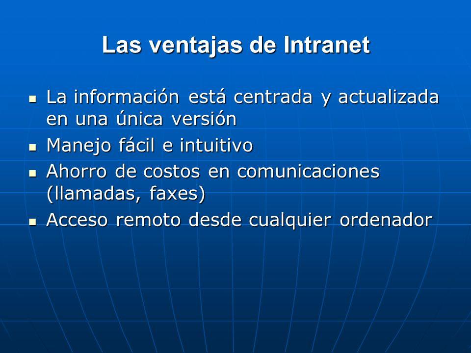 Las ventajas de Intranet La información está centrada y actualizada en una única versión La información está centrada y actualizada en una única versi