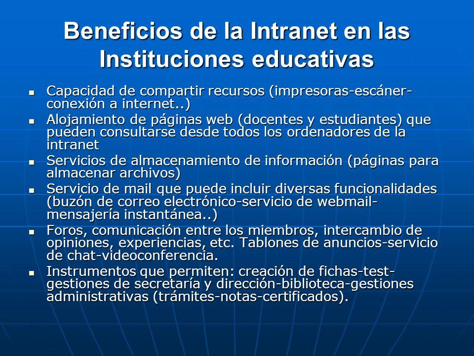 Beneficios de la Intranet en las Instituciones educativas Capacidad de compartir recursos (impresoras-escáner- conexión a internet..) Capacidad de com