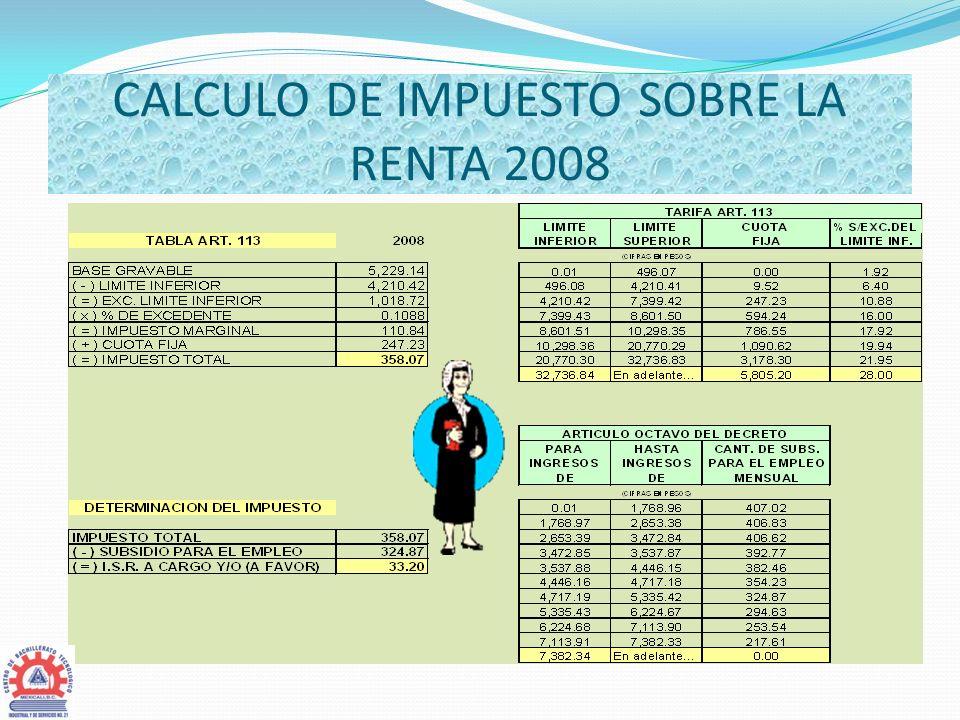 CALCULO DE IMPUESTO SOBRE LA RENTA 2008