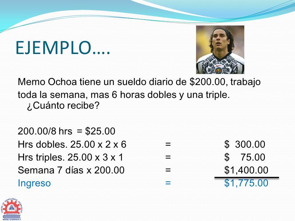 EJEMPLO…. Memo Ochoa tiene un sueldo diario de $200.00, trabajo toda la semana, mas 6 horas dobles y una triple. ¿Cuánto recibe? 200.00/8 hrs = $25.00