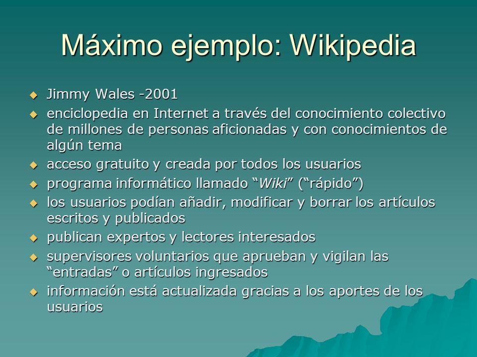 Máximo ejemplo: Wikipedia Jimmy Wales -2001 Jimmy Wales -2001 enciclopedia en Internet a través del conocimiento colectivo de millones de personas afi