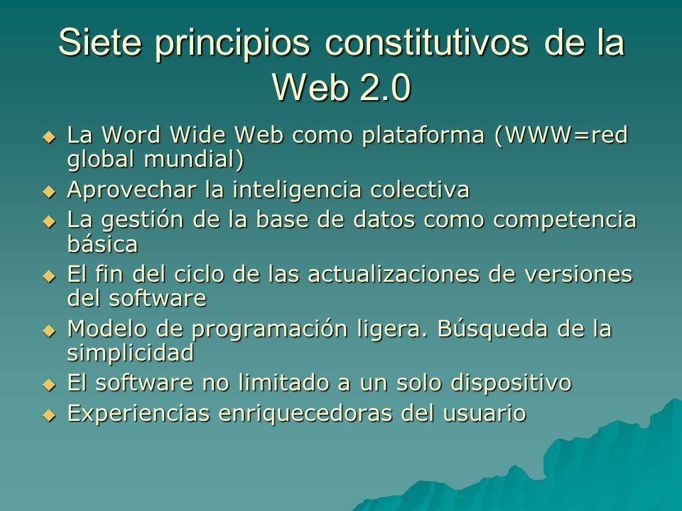 Siete principios constitutivos de la Web 2.0 La Word Wide Web como plataforma (WWW=red global mundial) La Word Wide Web como plataforma (WWW=red globa