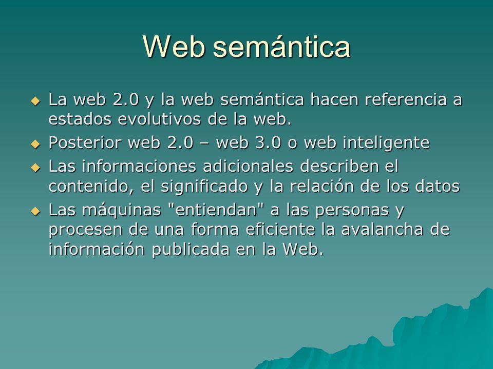 Web 2.0 Web 2.0 Principal protagonista el usuario humano generador de blogs y colaborador en un wiki Principal protagonista el usuario humano generador de blogs y colaborador en un wiki Web semántica Web semántica Orientada al protagonismo de procesadores de información que entiendan la lógica descriptiva en diversos lenguajes Orientada al protagonismo de procesadores de información que entiendan la lógica descriptiva en diversos lenguajes