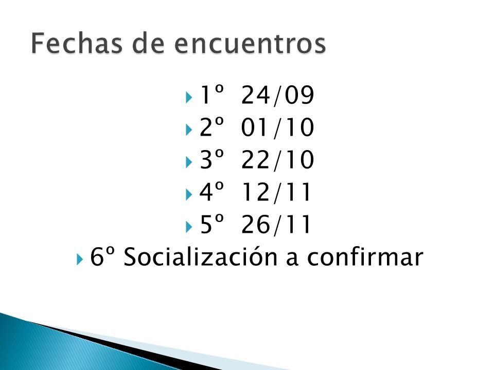 1º 24/09 2º 01/10 3º 22/10 4º 12/11 5º 26/11 6º Socialización a confirmar