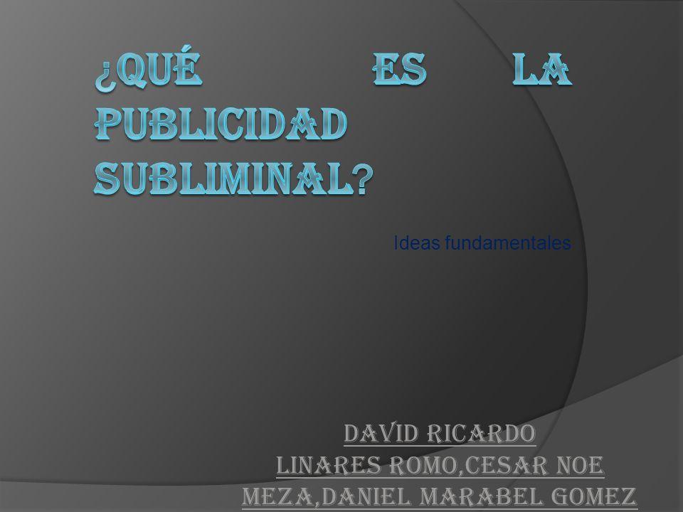 Ideas fundamentales DAVID RICARDO LINARES ROMO,CESAR NOE MEZA,DANIEL MARABEL GOMEZ