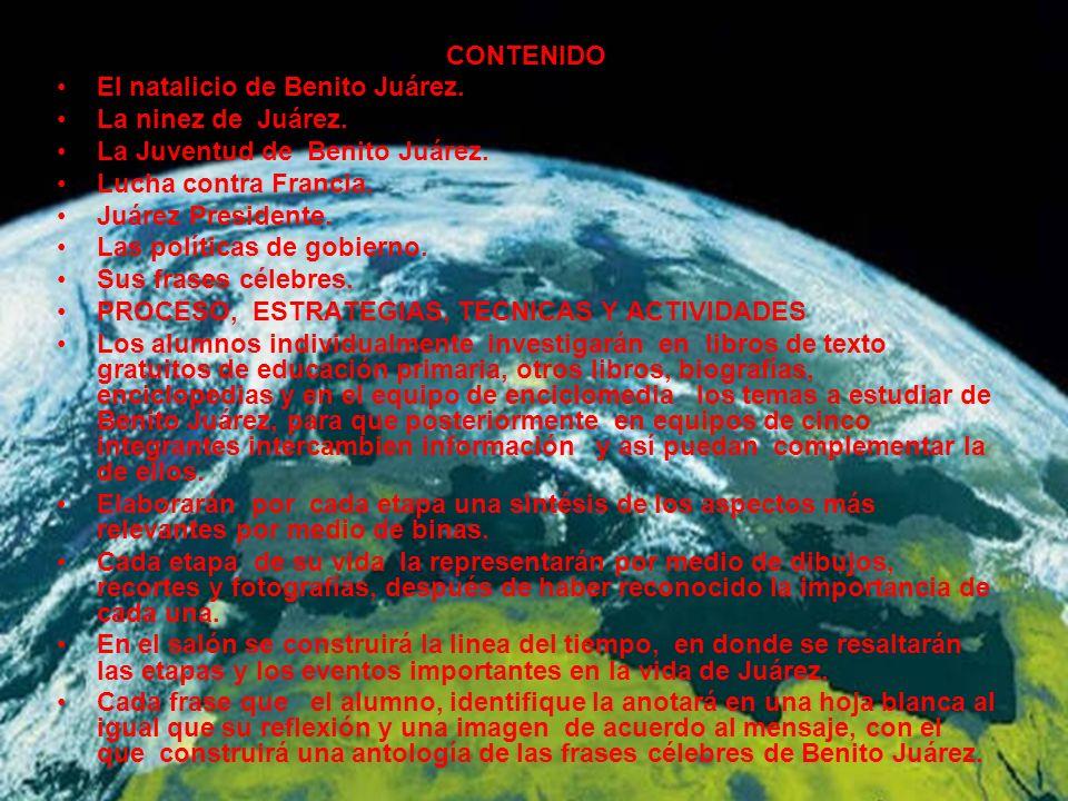 CURRICULO E INSTRUCCION DIFERENCIADA GRADO: 5o GRADO ASIGNATURA: HISTORIA TEMA: BENITO JUAREZ SU VIDA.