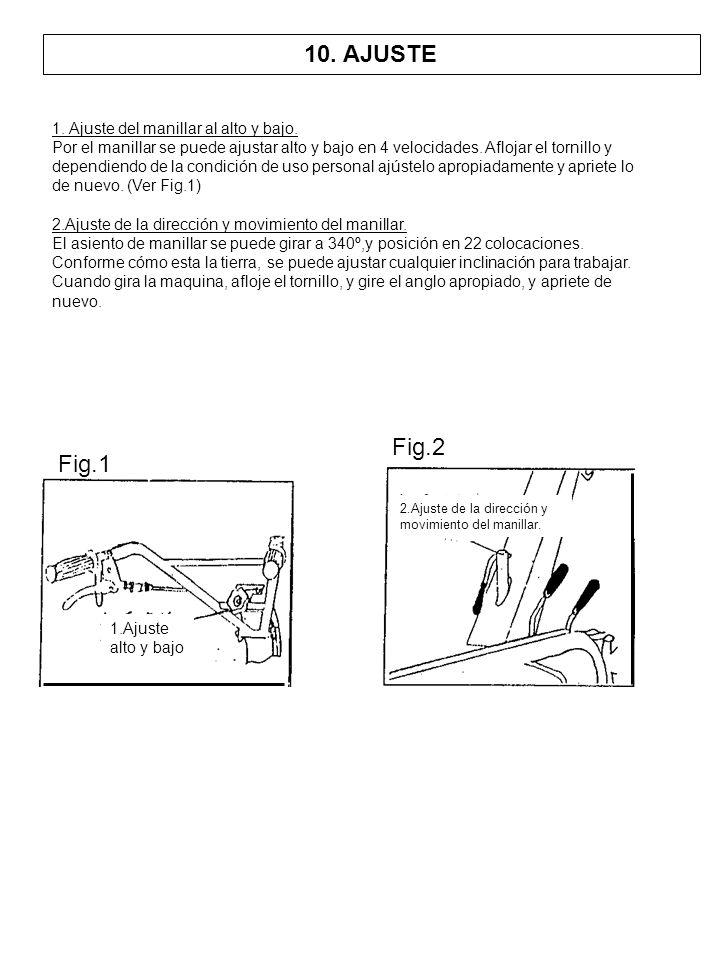 1. Ajuste del manillar al alto y bajo. Por el manillar se puede ajustar alto y bajo en 4 velocidades. Aflojar el tornillo y dependiendo de la condició