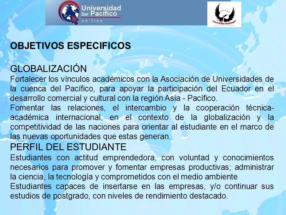 OBJETIVOS ESPECIFICOS GLOBALIZACIÓN Fortalecer los vínculos académicos con la Asociación de Universidades de la cuenca del Pacífico, para apoyar la pa