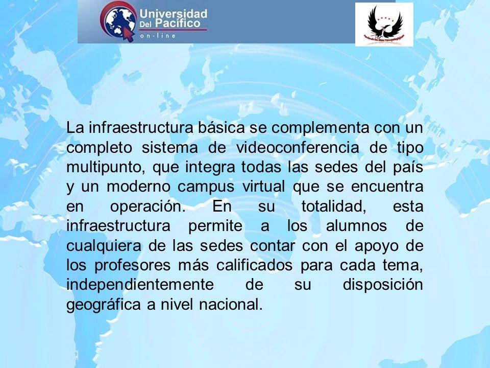 La infraestructura básica se complementa con un completo sistema de videoconferencia de tipo multipunto, que integra todas las sedes del país y un mod