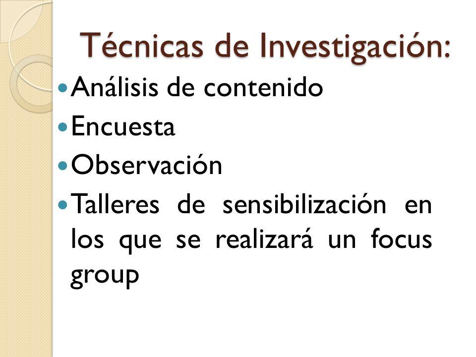 Técnicas de Investigación: Análisis de contenido Encuesta Observación Talleres de sensibilización en los que se realizará un focus group