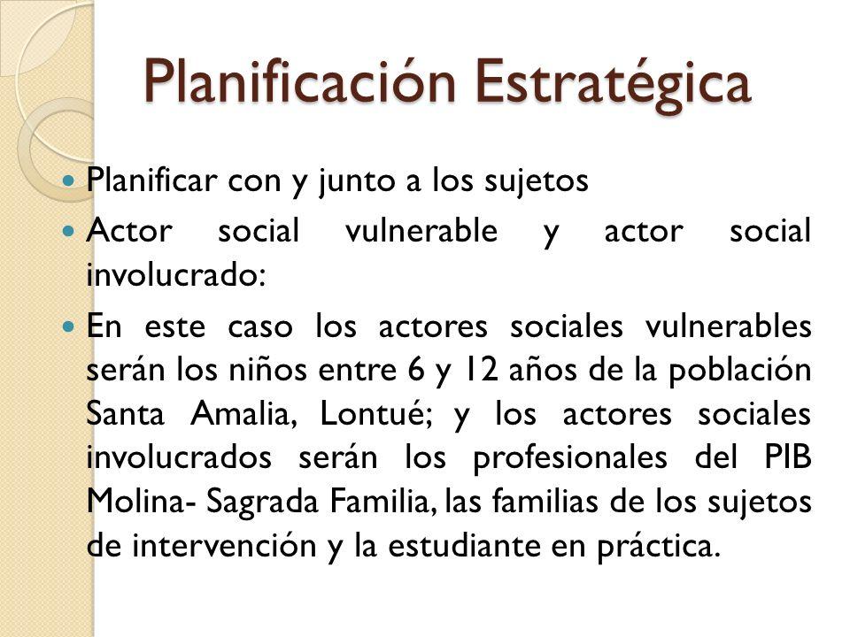 Planificación Estratégica Planificar con y junto a los sujetos Actor social vulnerable y actor social involucrado: En este caso los actores sociales v