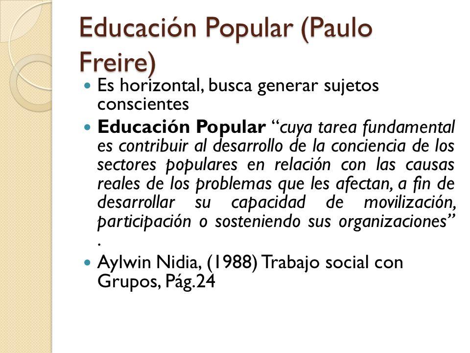 Educación Popular (Paulo Freire) Es horizontal, busca generar sujetos conscientes Educación Popular cuya tarea fundamental es contribuir al desarrollo