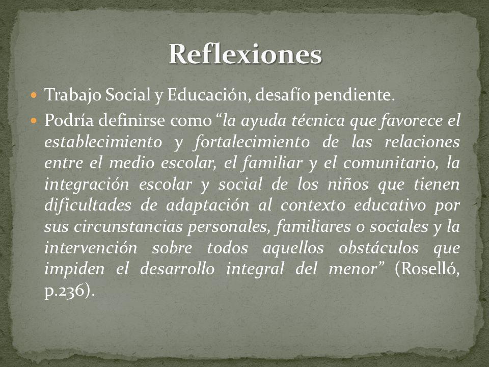 Roselló plantea algunas funciones especificas del Trabajador Social en el área educacional: Participar en la elaboración y desarrollo de programas de prevención y detección dirigidos a la comunidad educativa.