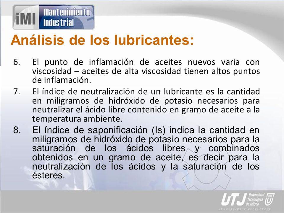 Análisis de los lubricantes: 6.El punto de inflamación de aceites nuevos varia con viscosidad – aceites de alta viscosidad tienen altos puntos de inflamación.