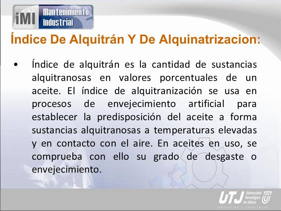 Índice De Alquitrán Y De Alquinatrizacion: Índice de alquitrán es la cantidad de sustancias alquitranosas en valores porcentuales de un aceite.