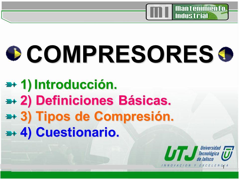 1 COMPRESORES 1) Introducción.2) Definiciones Básicas.