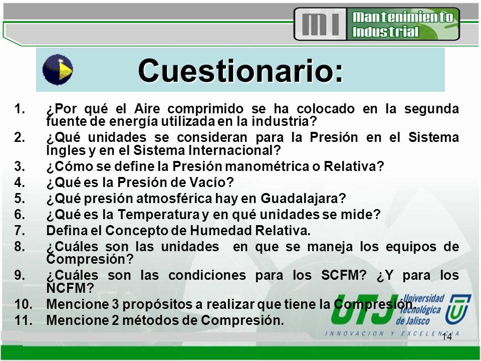 14 Cuestionario: 1.¿Por qué el Aire comprimido se ha colocado en la segunda fuente de energía utilizada en la industria.