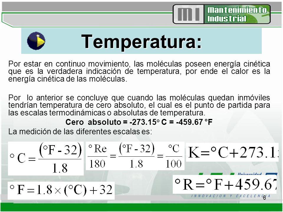 6 Temperatura: Por estar en continuo movimiento, las moléculas poseen energía cinética que es la verdadera indicación de temperatura, por ende el calor es la energía cinética de las moléculas.