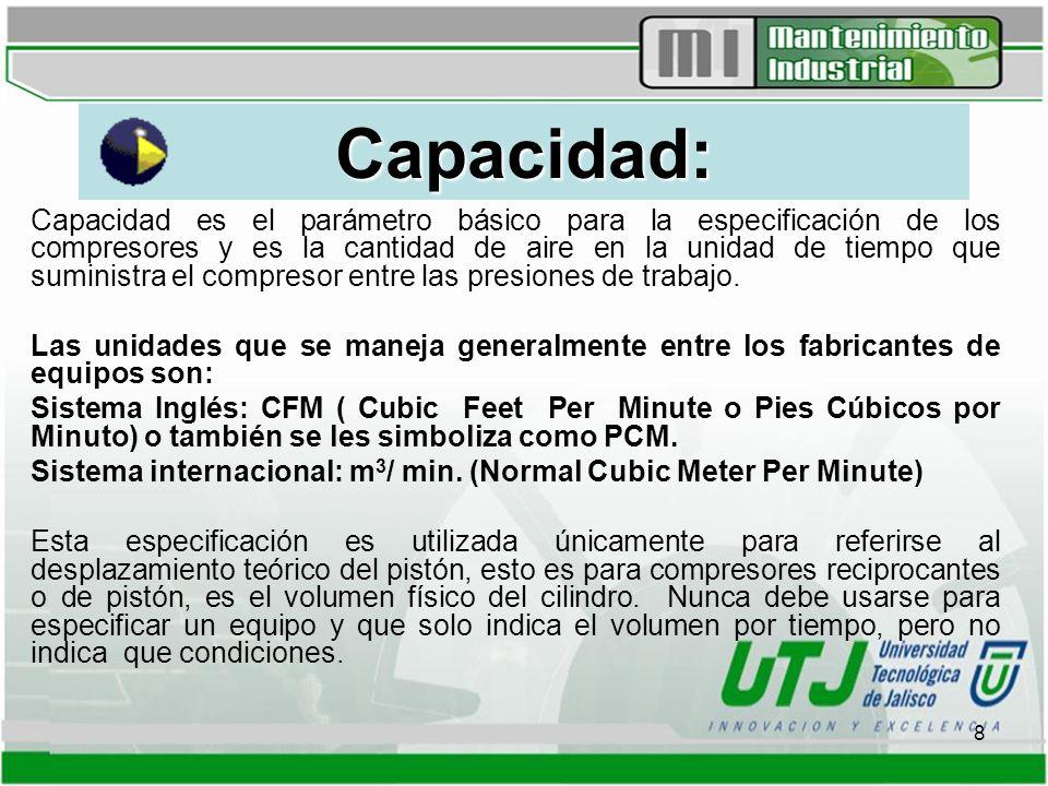 8 Capacidad: Capacidad es el parámetro básico para la especificación de los compresores y es la cantidad de aire en la unidad de tiempo que suministra el compresor entre las presiones de trabajo.