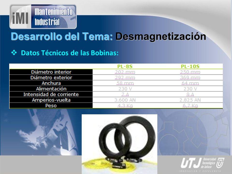 Desarrollo del Tema: Desmagnetización Datos Técnicos de las Bobinas: