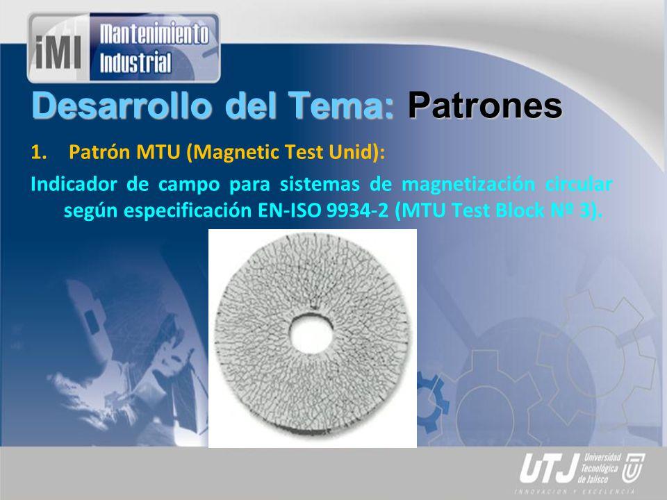 Desarrollo del Tema: Patrones 1.Patrón Ketos barra: Bloque de verificación de sensibilidad en profundidad para sistemas de magnetización circular (DC) con 5 taladros, conforme a ASME V, ASTM E-709 y ASTM E-1444 (RPS 700).