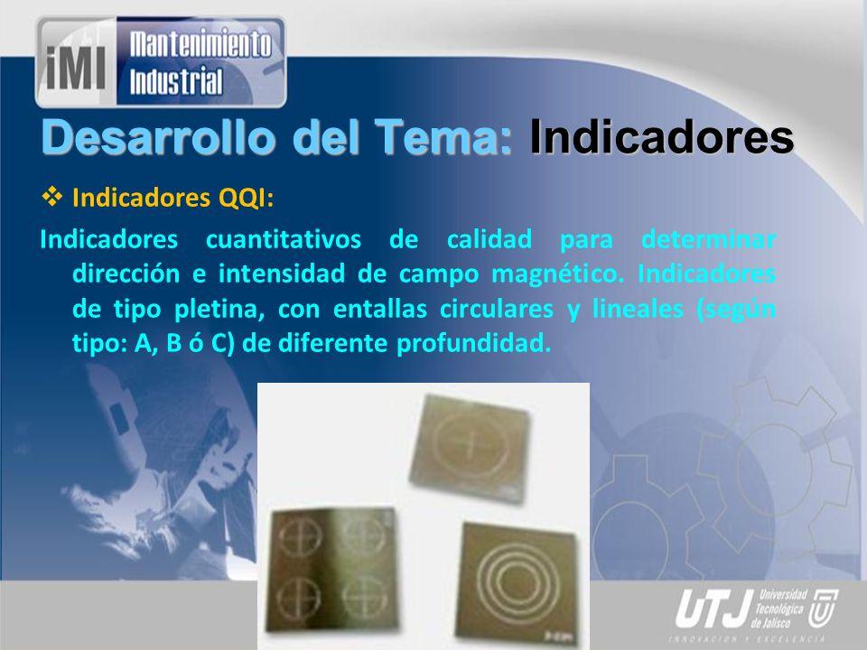 Desarrollo del Tema: Indicadores Indicadores Tipo Castrol: Juegos de indicadores de dirección e intensidad de campo magnético de tipo pletina (5 cm x 1.9 cm), con tres entallas longitudinales de diferente profundidad para sensibilidades estándar (Tipo I) y alta (Tipo II).