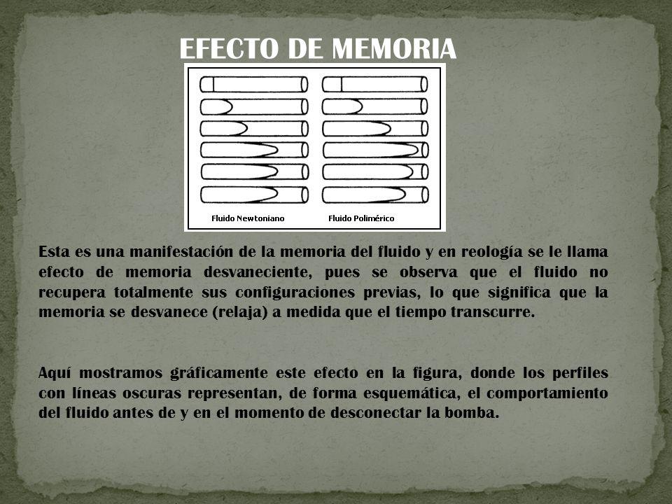 Esta es una manifestación de la memoria del fluido y en reología se le llama efecto de memoria desvaneciente, pues se observa que el fluido no recupera totalmente sus configuraciones previas, lo que significa que la memoria se desvanece (relaja) a medida que el tiempo transcurre.