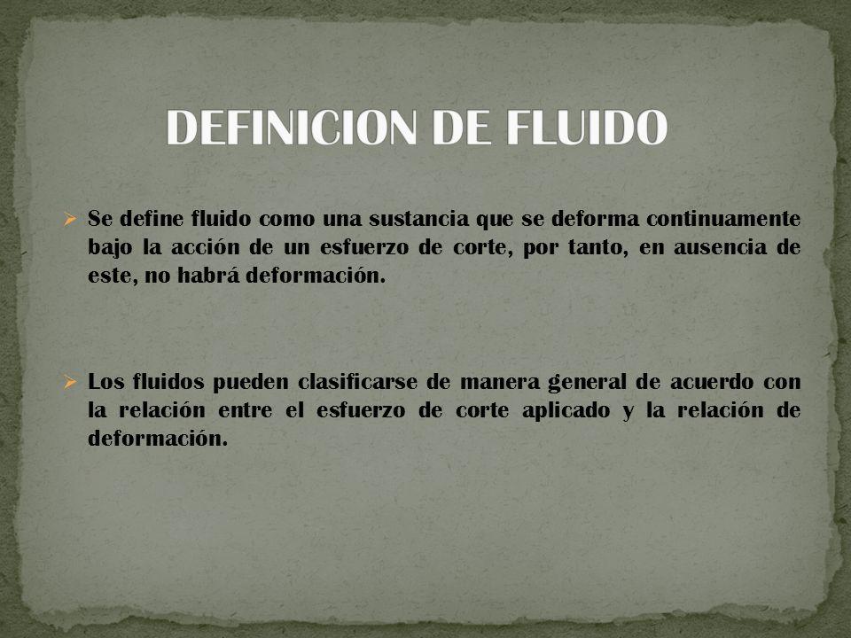 Se define fluido como una sustancia que se deforma continuamente bajo la acción de un esfuerzo de corte, por tanto, en ausencia de este, no habrá deformación.