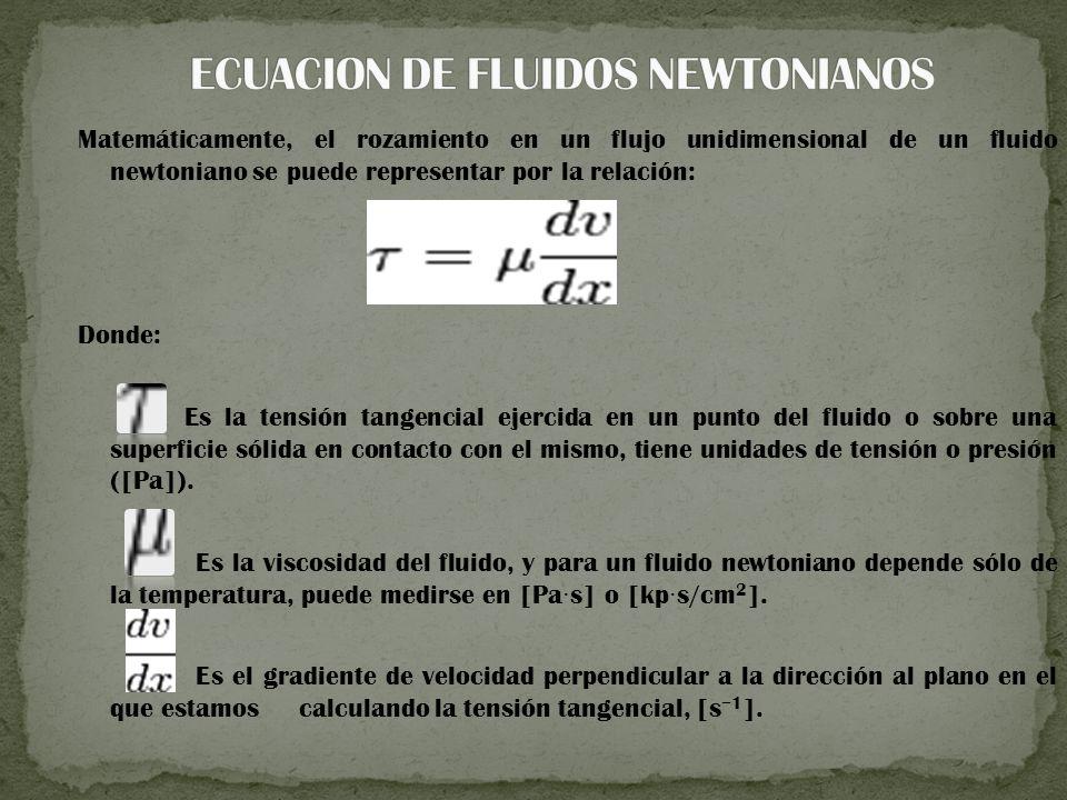 Matemáticamente, el rozamiento en un flujo unidimensional de un fluido newtoniano se puede representar por la relación: Donde: Es la tensión tangencial ejercida en un punto del fluido o sobre una superficie sólida en contacto con el mismo, tiene unidades de tensión o presión ([Pa]).