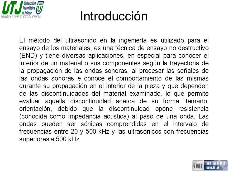 Introducción El método del ultrasonido en la ingeniería es utilizado para el ensayo de los materiales, es una técnica de ensayo no destructivo (END) y