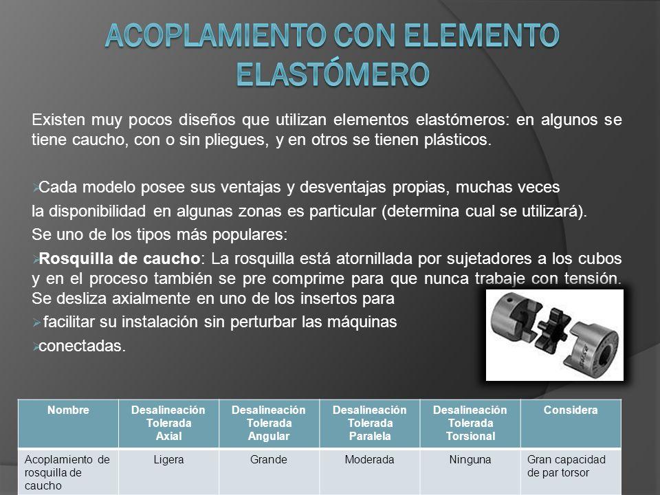 Existen muy pocos diseños que utilizan elementos elastómeros: en algunos se tiene caucho, con o sin pliegues, y en otros se tienen plásticos. Cada mod