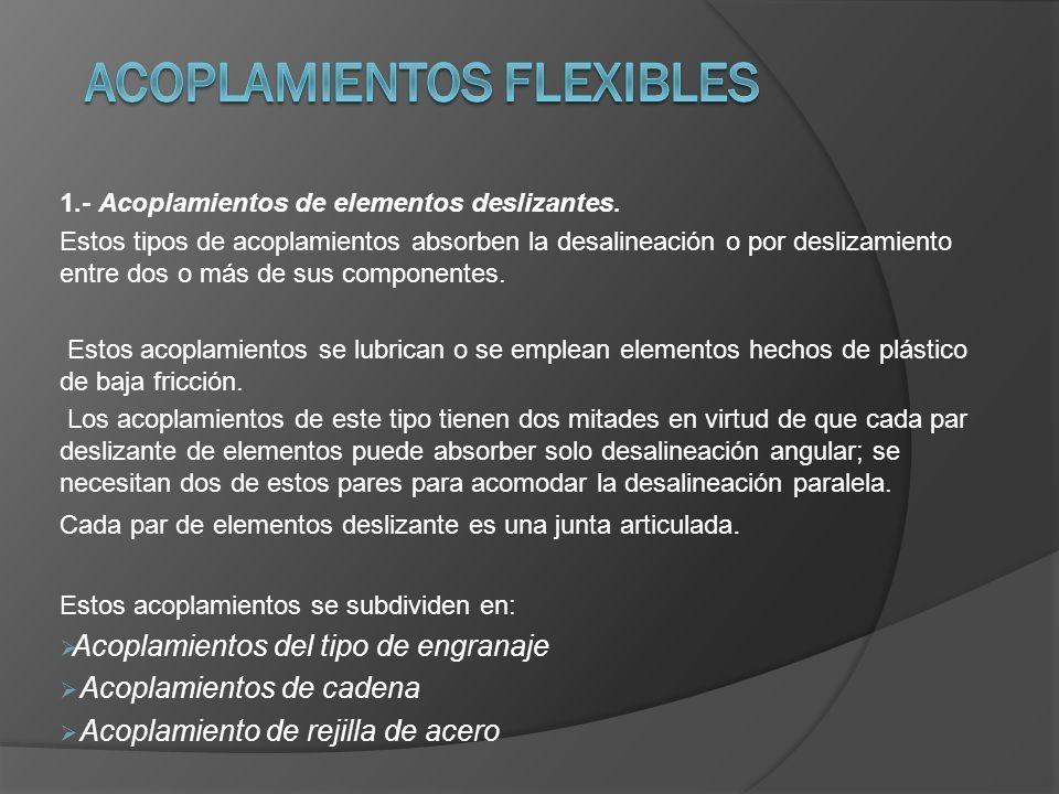 1.- Acoplamientos de elementos deslizantes. Estos tipos de acoplamientos absorben la desalineación o por deslizamiento entre dos o más de sus componen