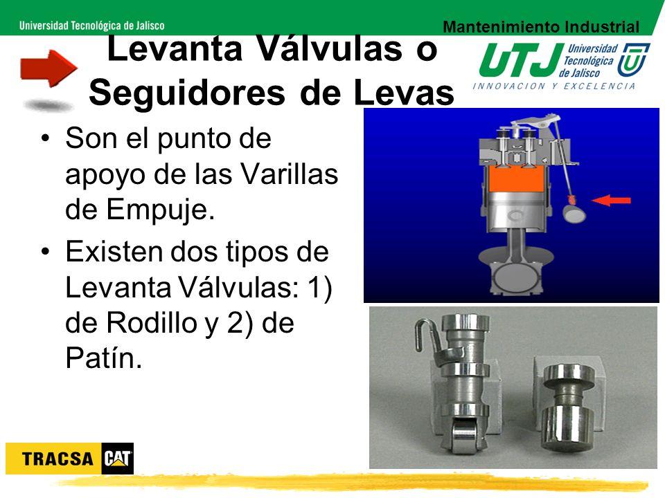 Levanta Válvulas o Seguidores de Levas Son el punto de apoyo de las Varillas de Empuje. Existen dos tipos de Levanta Válvulas: 1) de Rodillo y 2) de P