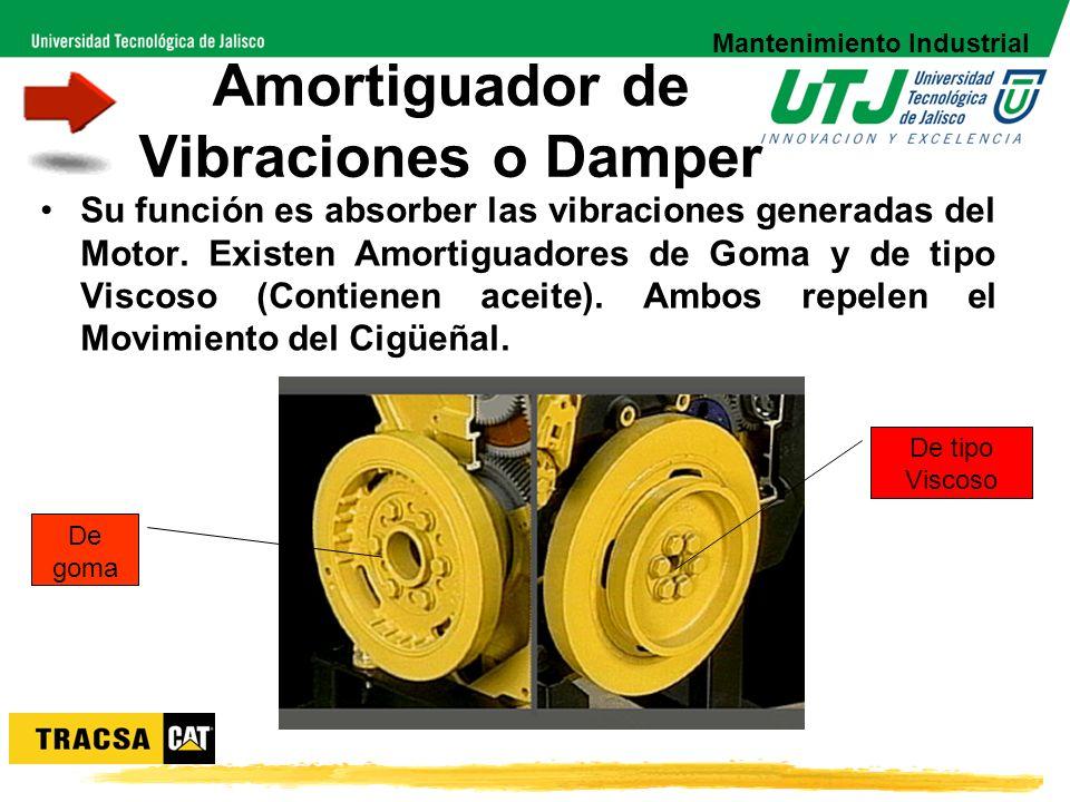 Amortiguador de Vibraciones o Damper Su función es absorber las vibraciones generadas del Motor. Existen Amortiguadores de Goma y de tipo Viscoso (Con