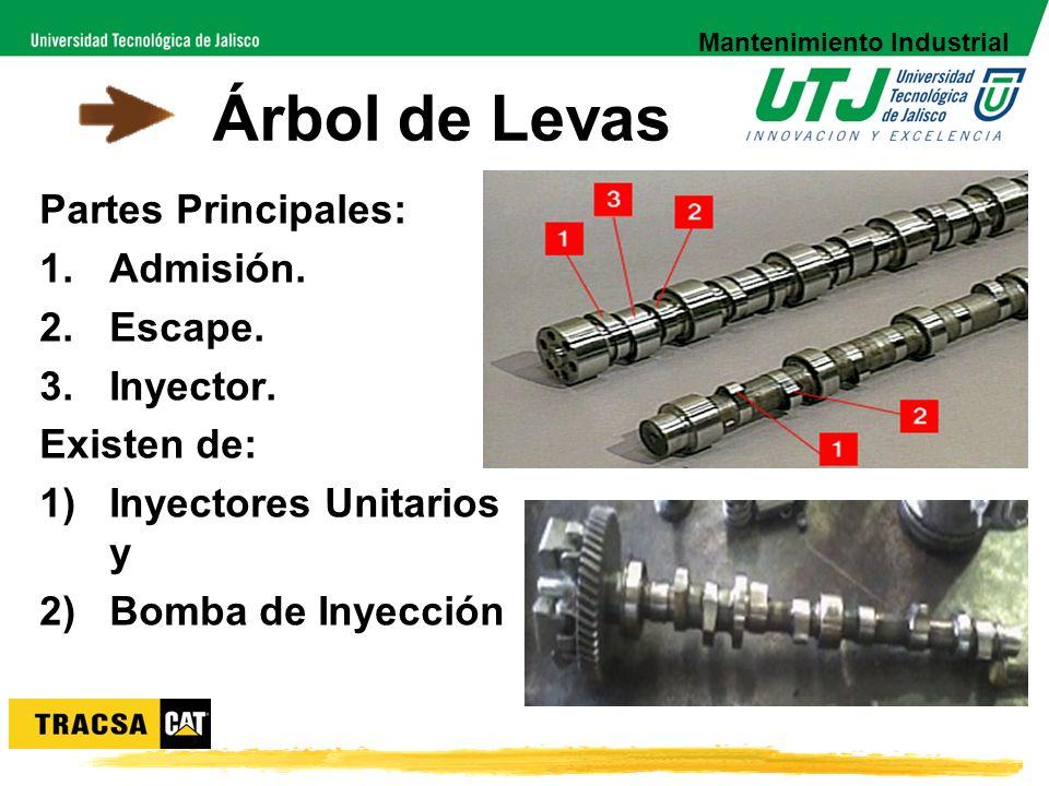 Árbol de Levas Partes Principales: 1.Admisión. 2.Escape. 3.Inyector. Existen de: 1)Inyectores Unitarios y 2)Bomba de Inyección Mantenimiento Industria