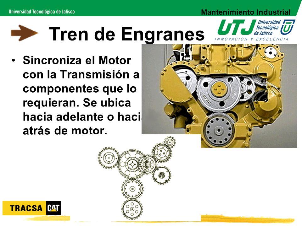 Tren de Engranes Sincroniza el Motor con la Transmisión a componentes que lo requieran. Se ubica hacia adelante o hacia atrás de motor. Mantenimiento