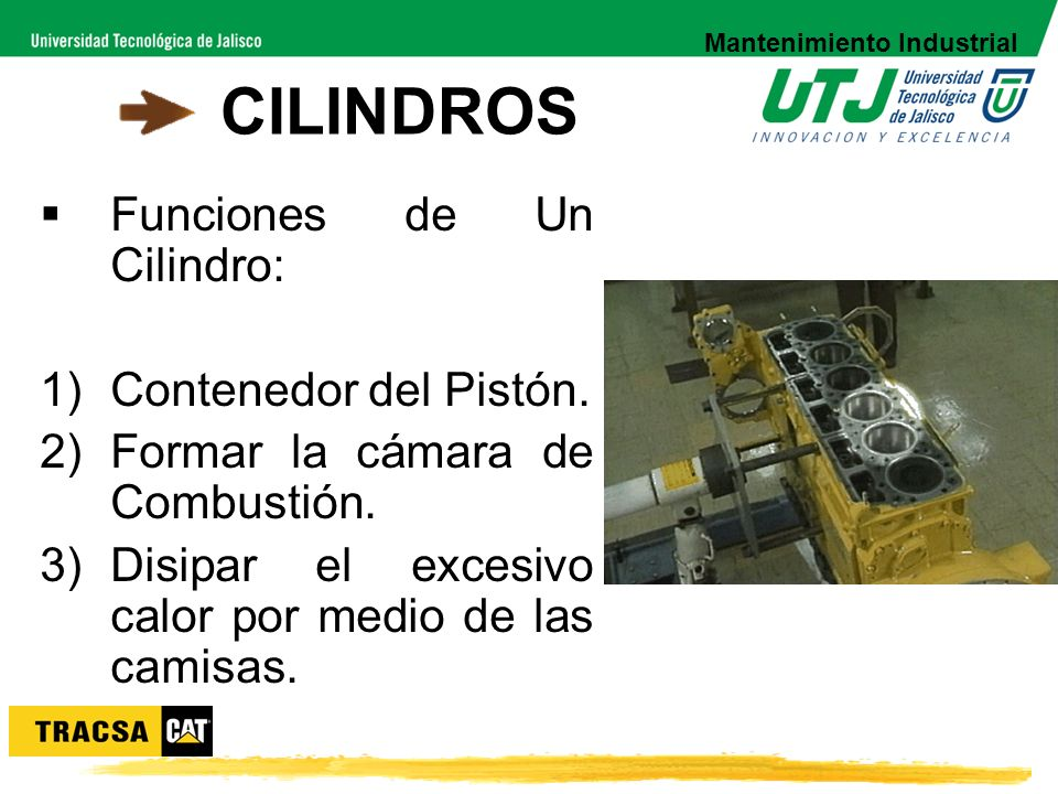 CILINDROS Funciones de Un Cilindro: 1)Contenedor del Pistón. 2)Formar la cámara de Combustión. 3)Disipar el excesivo calor por medio de las camisas. M