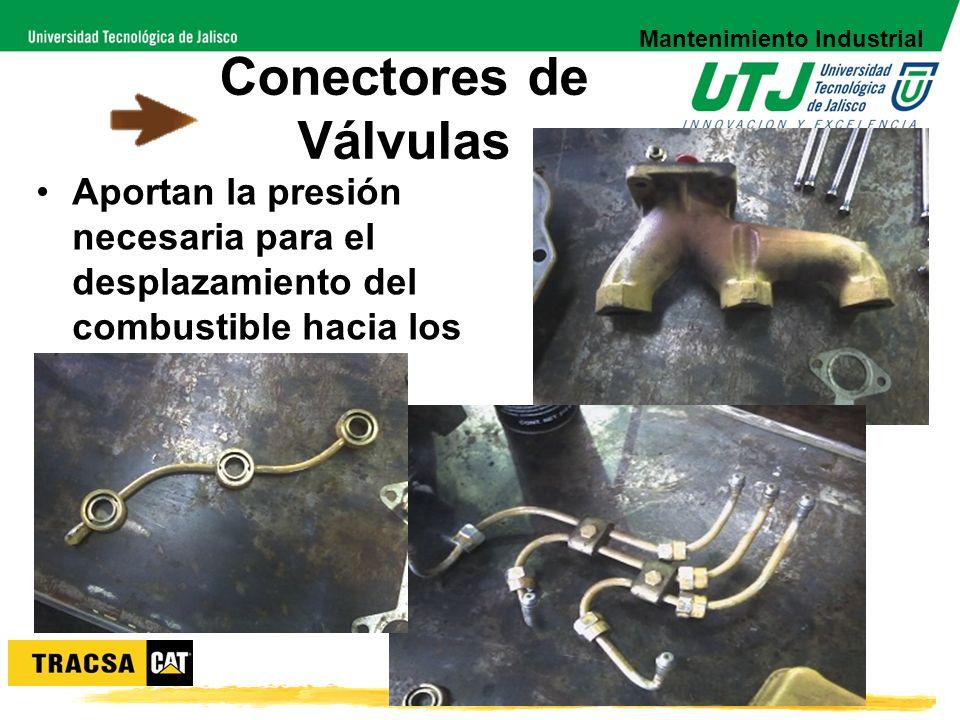 Conectores de Válvulas Aportan la presión necesaria para el desplazamiento del combustible hacia los inyectores. Mantenimiento Industrial