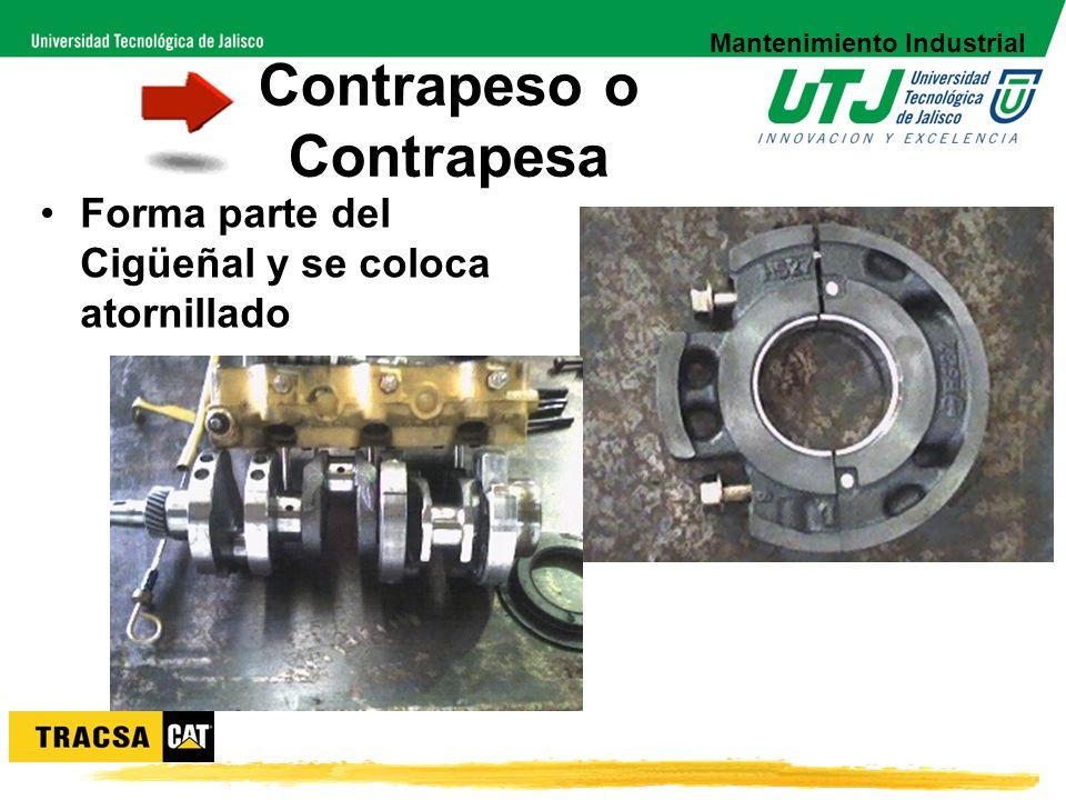 Contrapeso o Contrapesa Forma parte del Cigüeñal y se coloca atornillado Mantenimiento Industrial