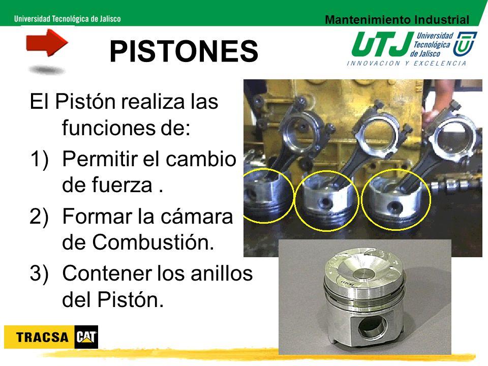 PISTONES El Pistón realiza las funciones de: 1)Permitir el cambio de fuerza. 2)Formar la cámara de Combustión. 3)Contener los anillos del Pistón. Mant