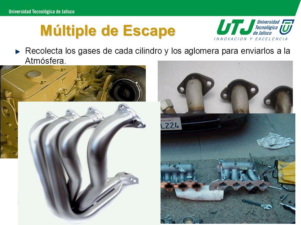 Múltiple de Escape Recolecta los gases de cada cilindro y los aglomera para enviarlos a la Atmósfera.